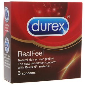 Hộp 3 cái bao cao su Durex RealFeel 56mm