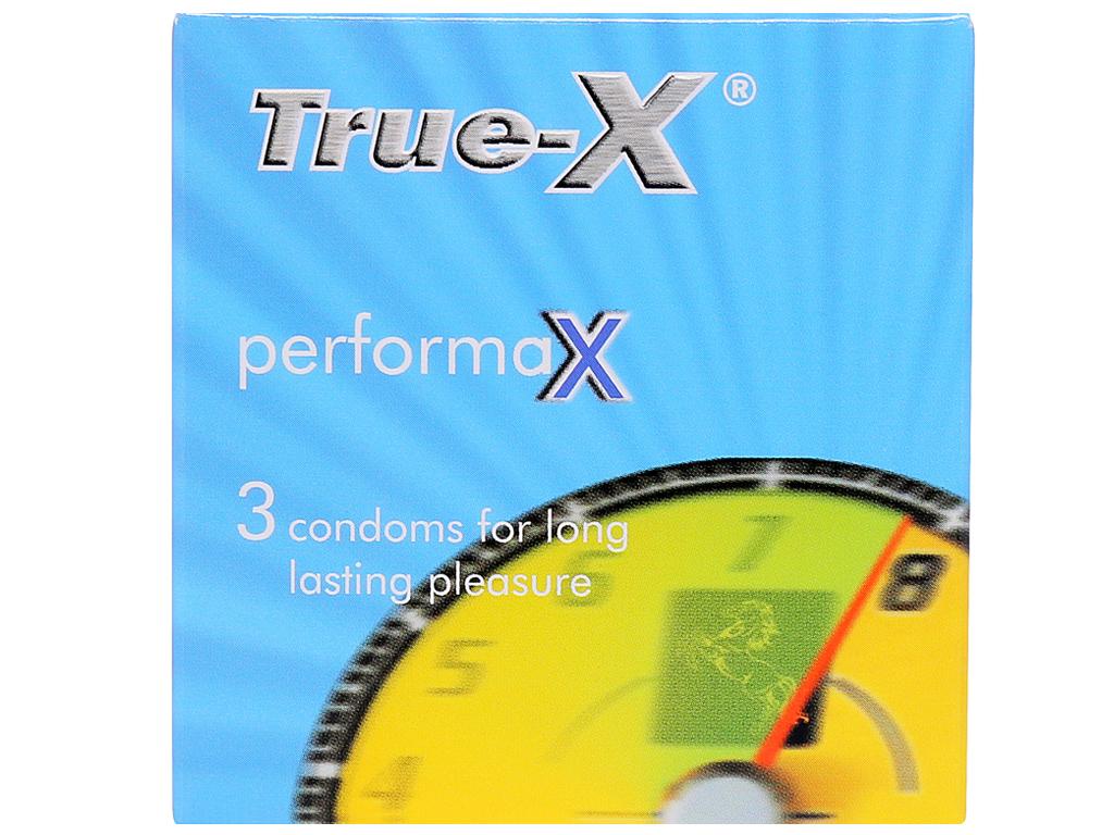 Hộp 3 cái bao cao su True-X PerformaX kéo dài thời gian 53mm 1