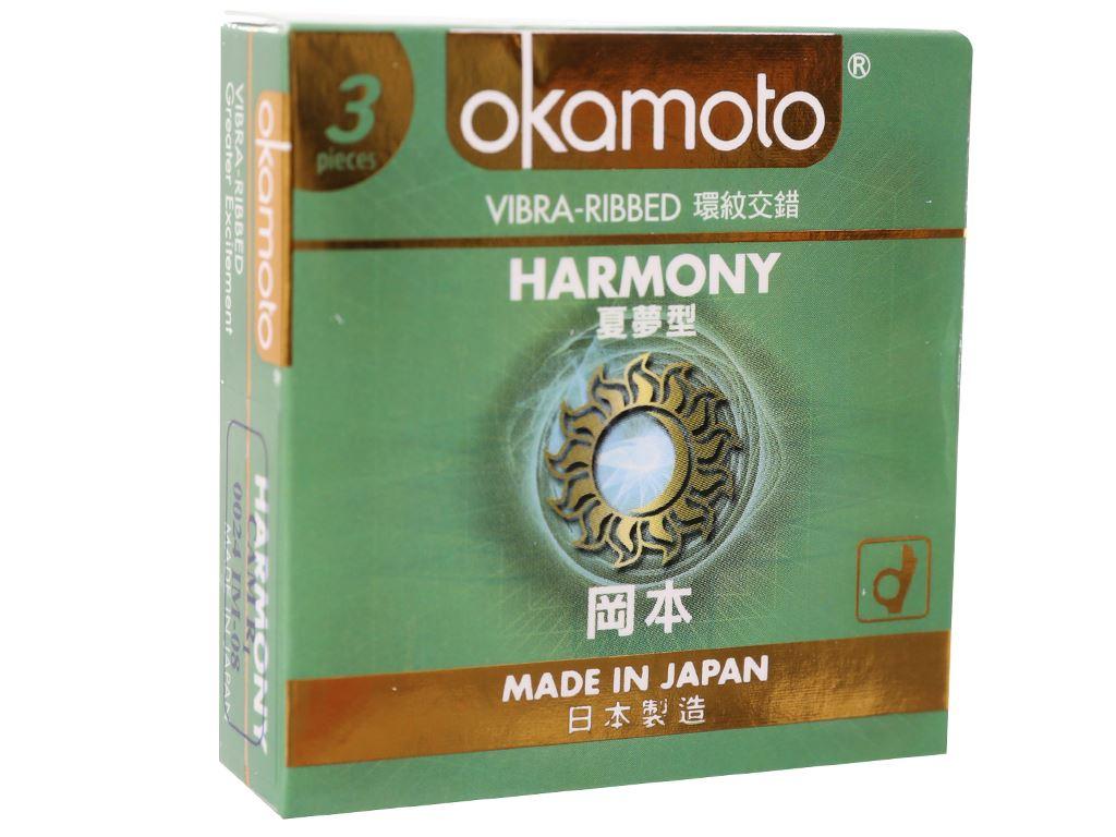 Hộp 3 cái bao cao su Okamoto Harmony vân sọc 52mm 1
