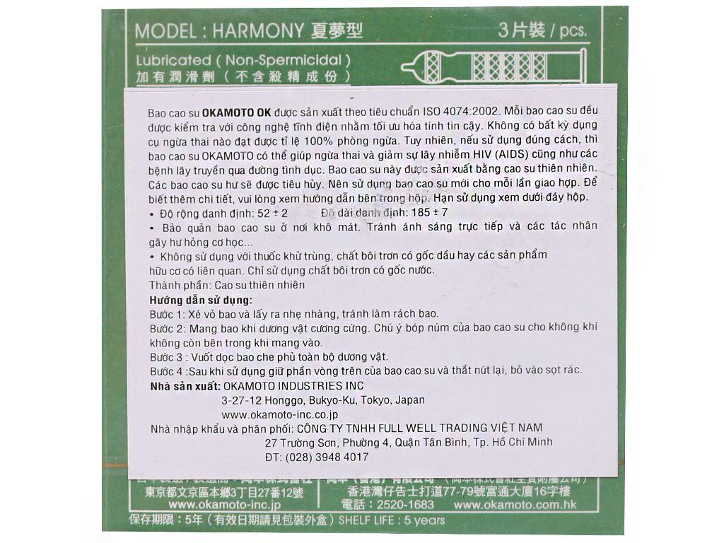 Hộp 3 cái bao cao su Okamoto Harmony vân sọc 52mm 2