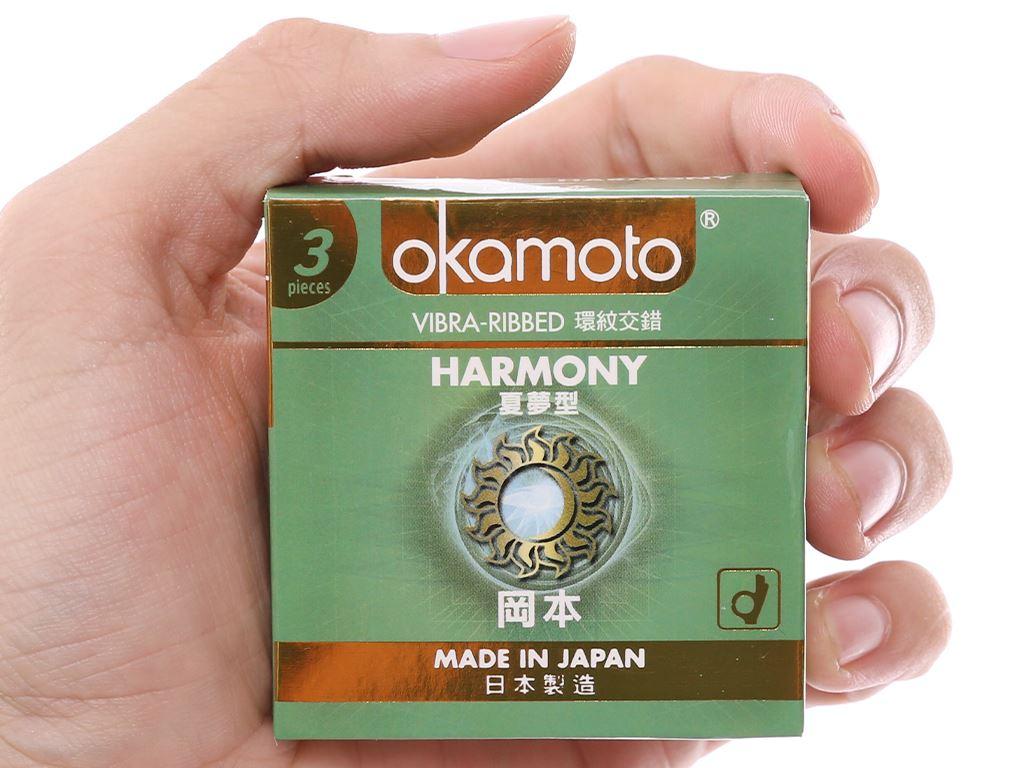 Hộp 3 cái bao cao su Okamoto Harmony vân sọc 52mm 4