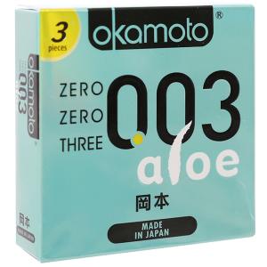 Hộp 3 cái bao cao su Okamoto 003 tinh chất lô hội 52mm
