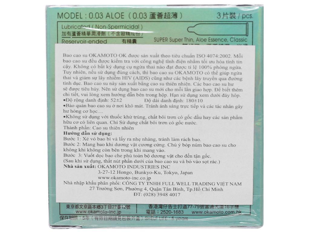 Hộp 3 cái bao cao su Okamoto 003 tinh chất lô hội 52mm 2