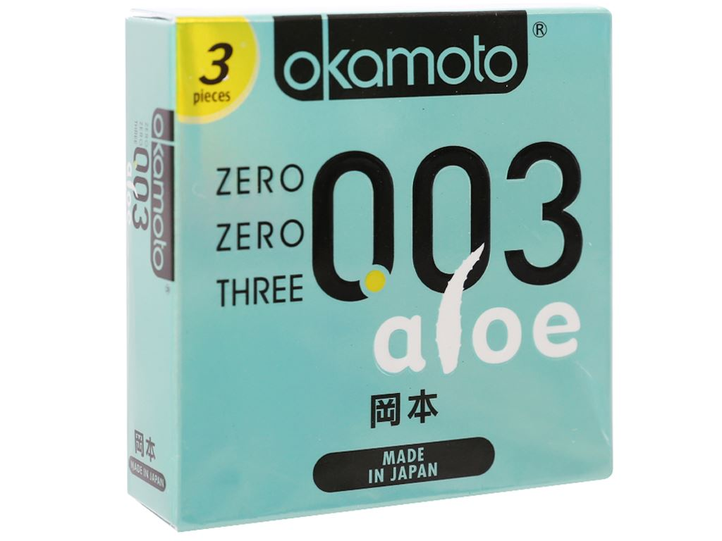Hộp 3 cái bao cao su Okamoto 003 tinh chất lô hội 52mm 1