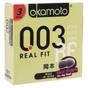 Hộp 3 cái bao cao su Okamoto 003 Real Fit 52mm