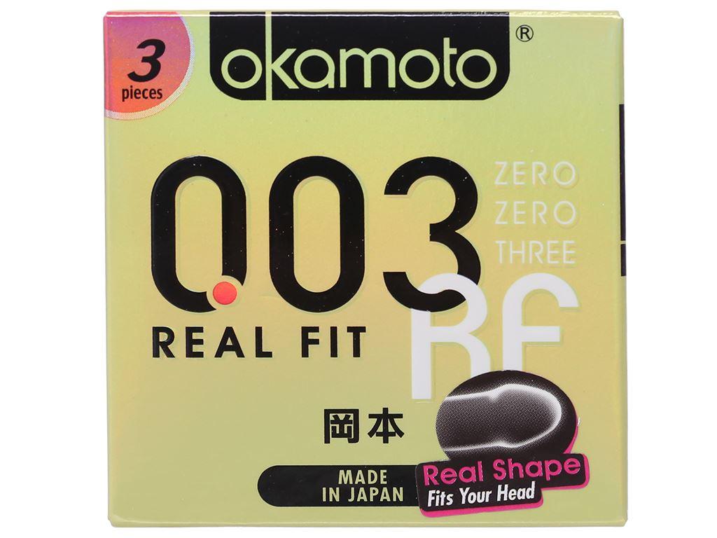 Hộp 3 cái bao cao su Okamoto 003 Real Fit 52mm 1
