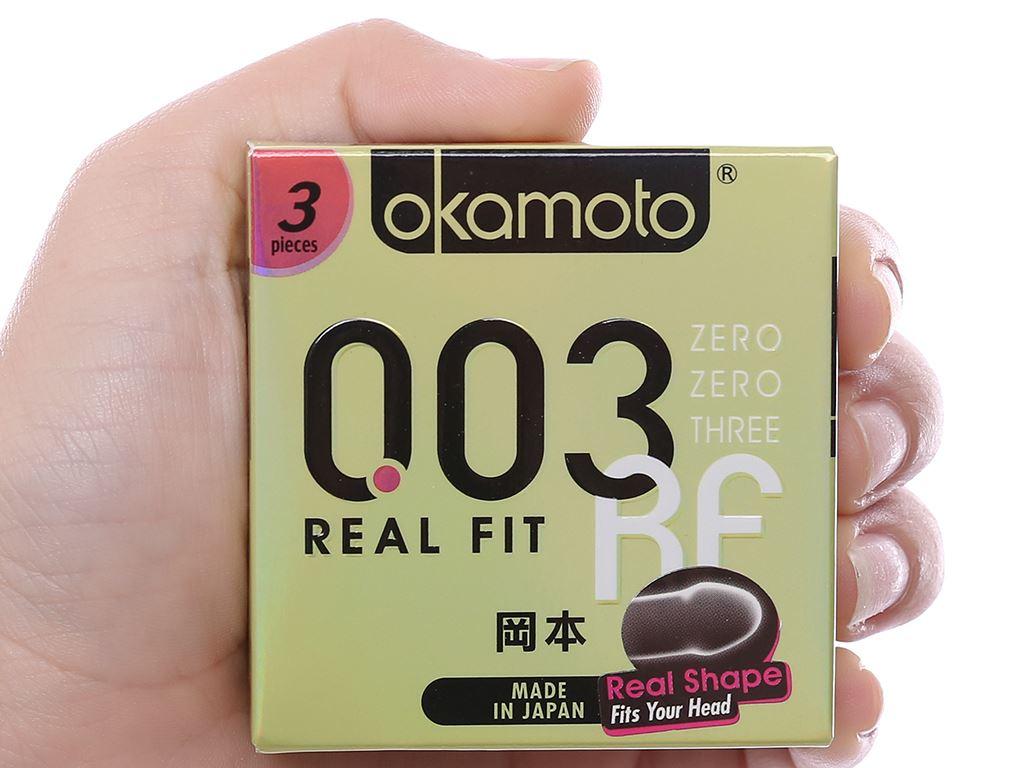 Hộp 3 cái bao cao su Okamoto 003 Real Fit 52mm 4