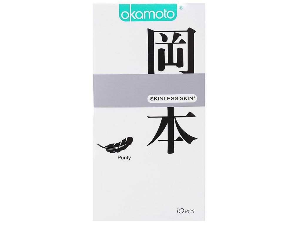 Hộp 10 cái bao cao su Okamoto Skinless Skin Purity 53mm 1