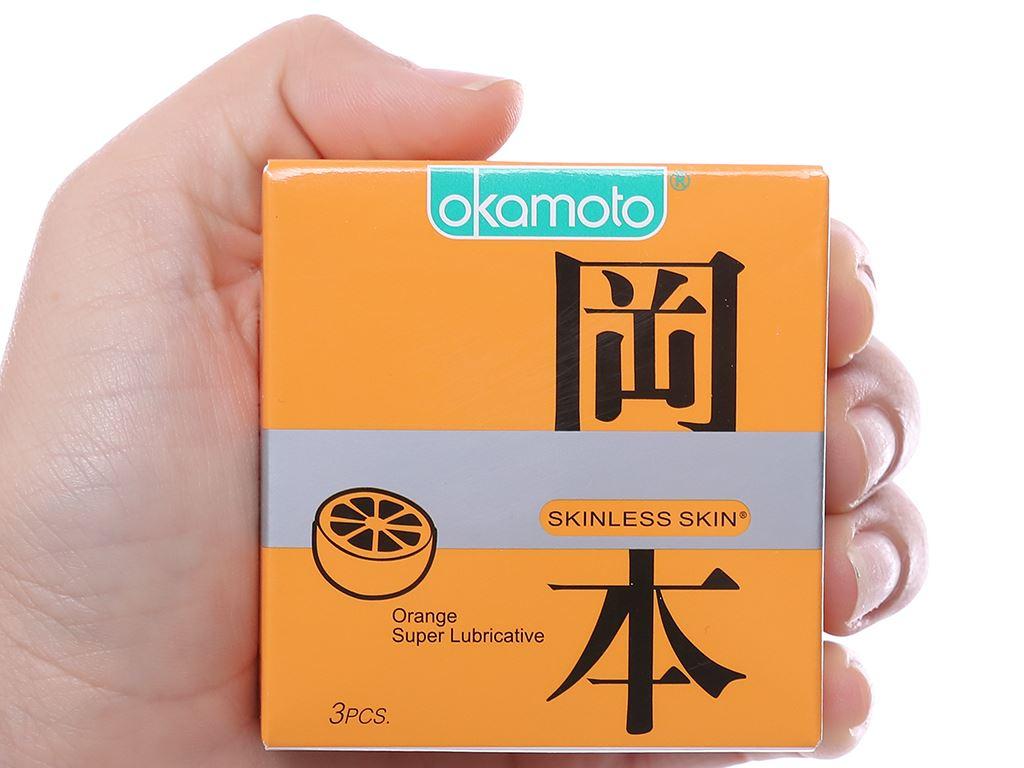 Hộp 3 cái bao cao su Okamoto Skinless Skin hương cam 53mm 4