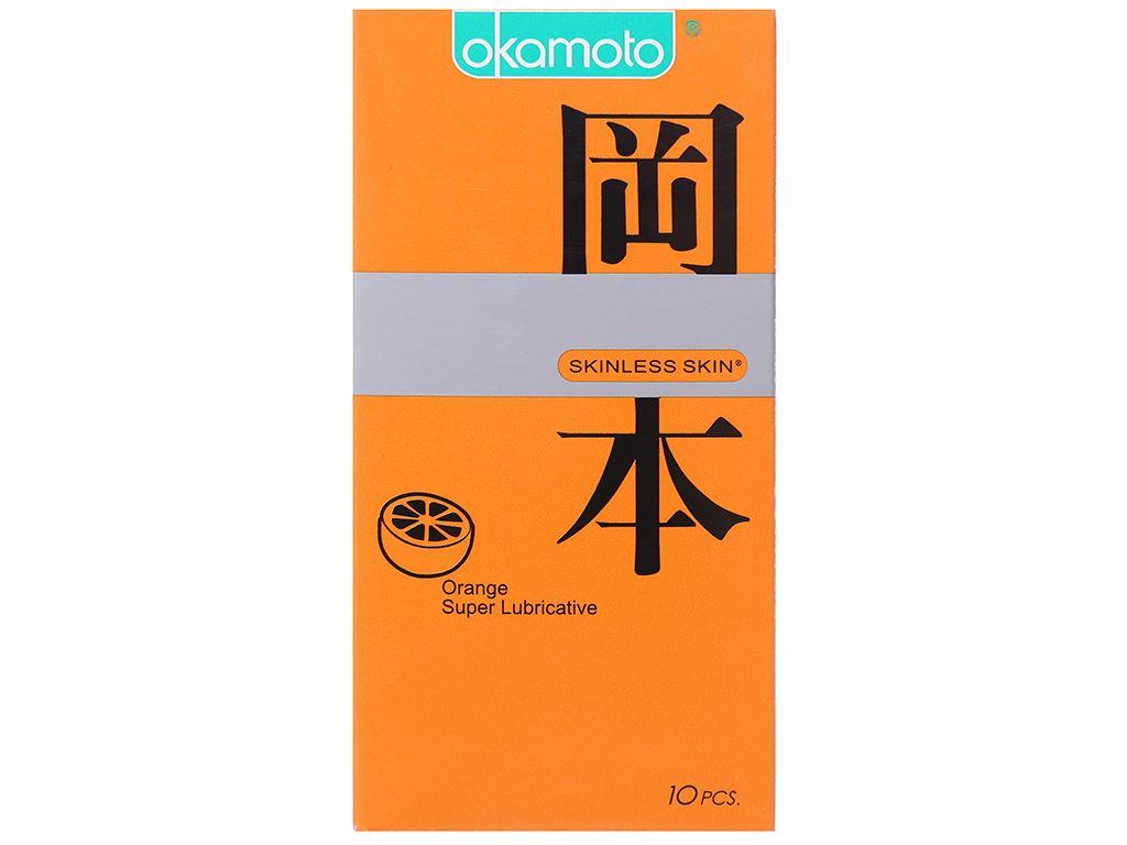 Hộp 10 cái bao cao su Okamoto Skinless Skin hương cam 53mm 1