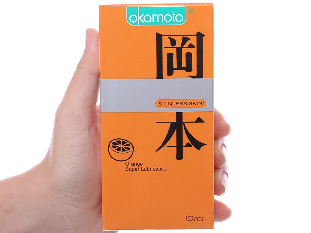 Hộp 10 cái bao cao su Okamoto Skinless Skin hương cam 53mm 4