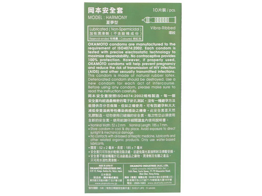 Hộp 10 cái bao cao su Okamoto Harmony vân sọc 52mm 2