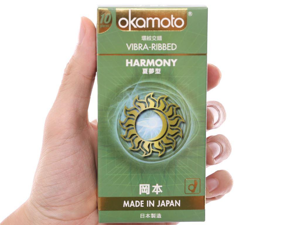 Hộp 10 cái bao cao su Okamoto Harmony vân sọc 52mm 4