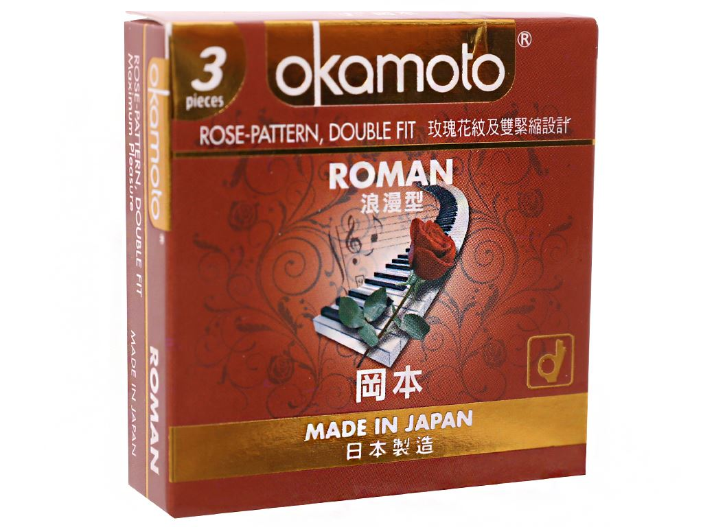 Hộp 3 cái bao cao su Okamoto Roman vân hoa hồng 52mm 1