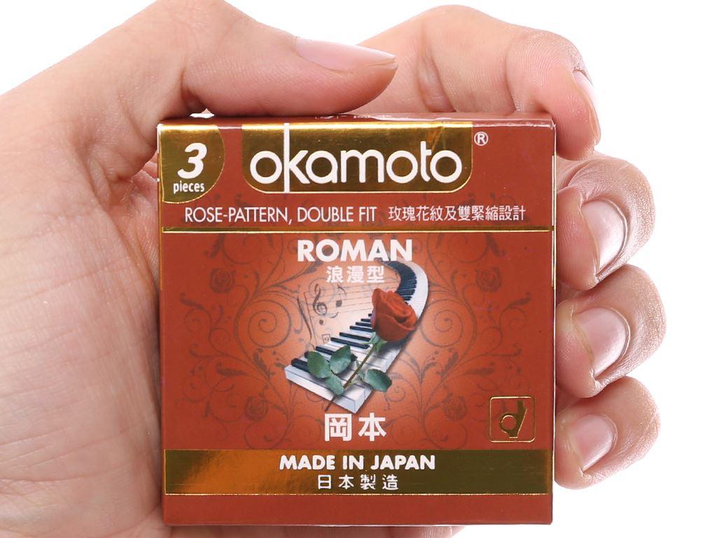 Hộp 3 cái bao cao su Okamoto Roman vân hoa hồng 52mm 5