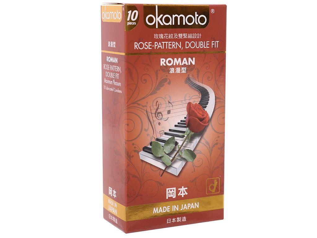 Hộp 10 cái bao cao su Okamoto Roman vân hoa hồng 52mm 1