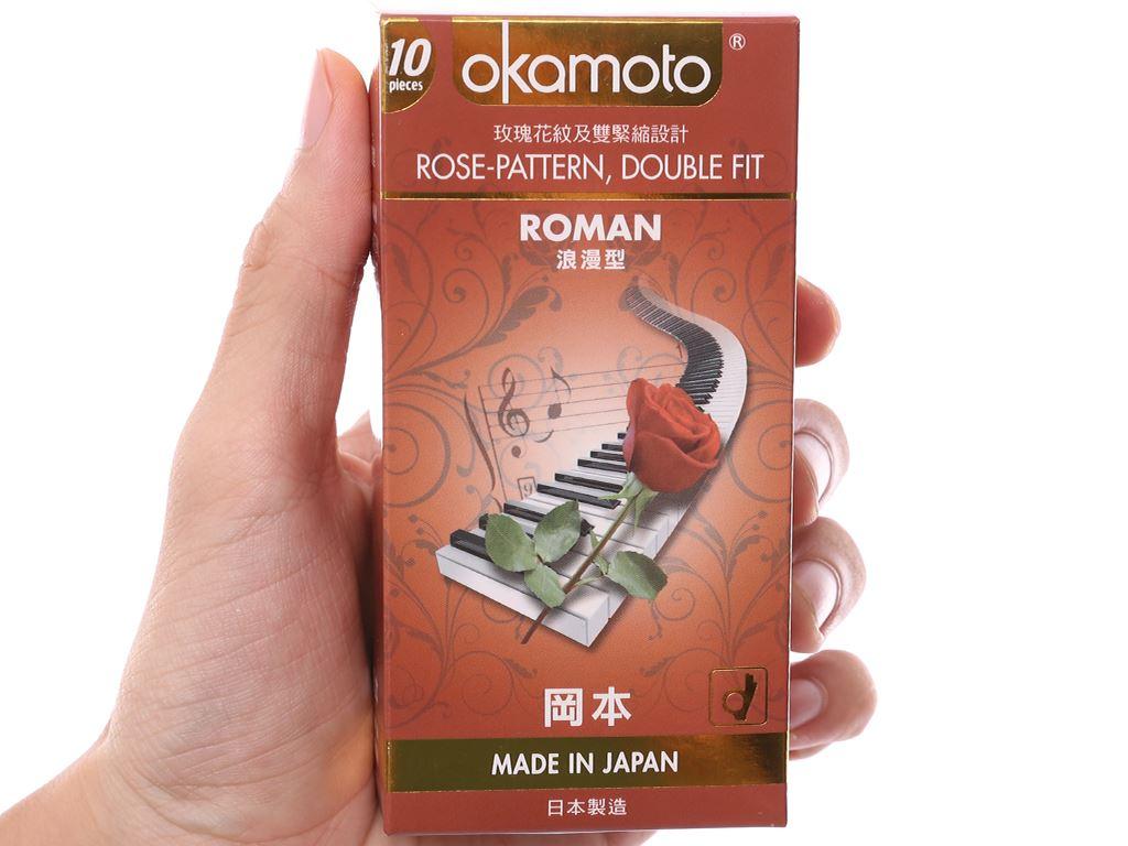 Hộp 10 cái bao cao su Okamoto Roman vân hoa hồng 52mm 5