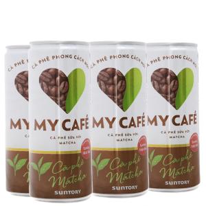Cà phê sữa matcha My Cafe lốc 235ml x 6 lon