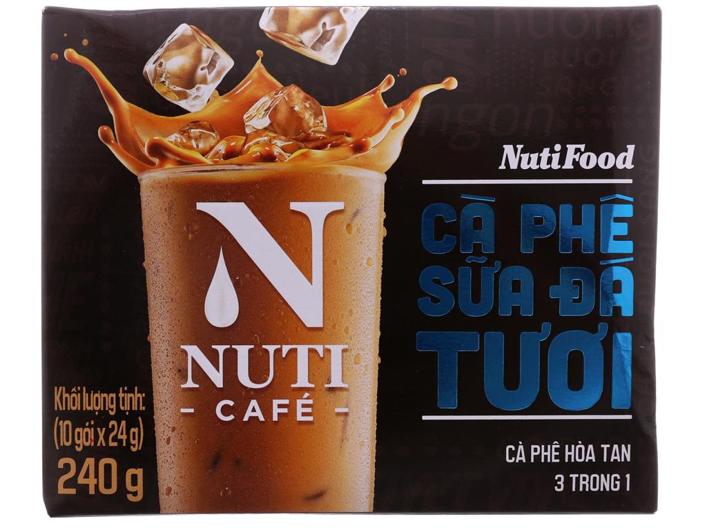 Cà phê sữa đá tươi NutiFood 3 trong 1 240g (24g x 10 gói) 2