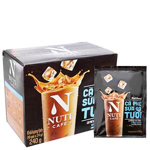 Cà phê sữa đá tươi NutiFood 3 trong 1 240g (24g x 10 gói)