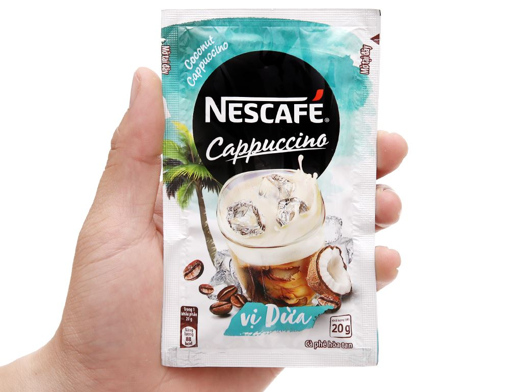 Cà phê Cappuccino NesCafé vị dừa 200g 10