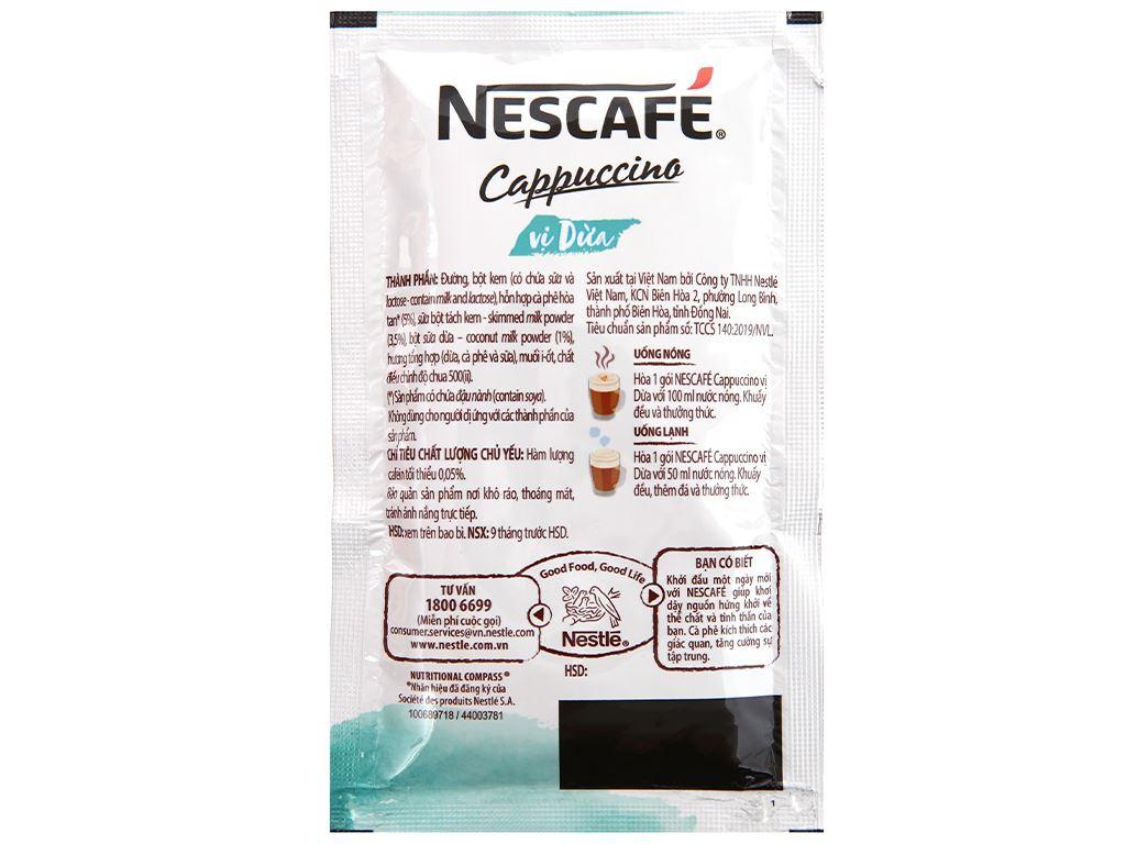Cà phê Cappuccino NesCafé vị dừa 200g 8