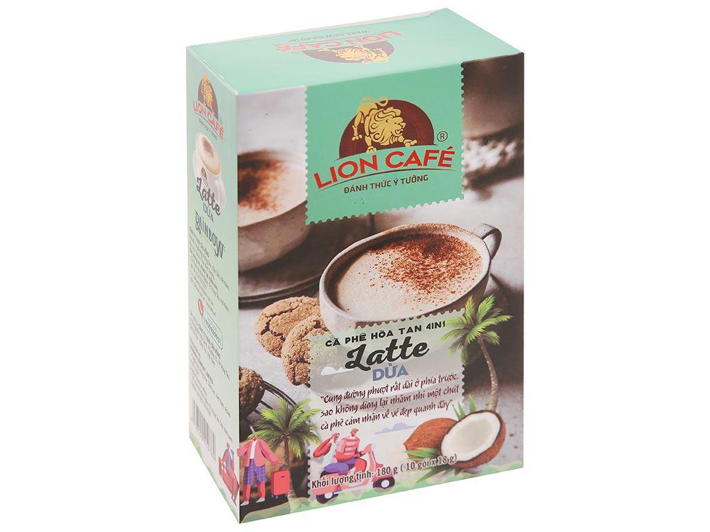 Cà phê hòa tan Latte dừa Lion 4 in 1 180g 1