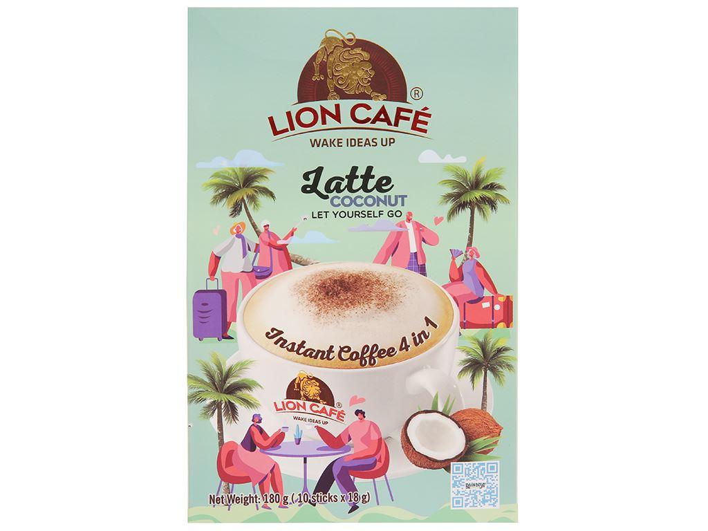 Cà phê hòa tan Latte dừa Lion 4 in 1 180g 2