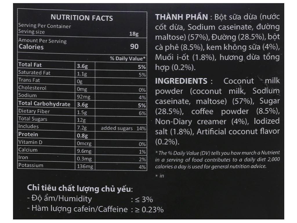 Cà phê hòa tan Meet more 4 in 1 hương dừa 270g 5