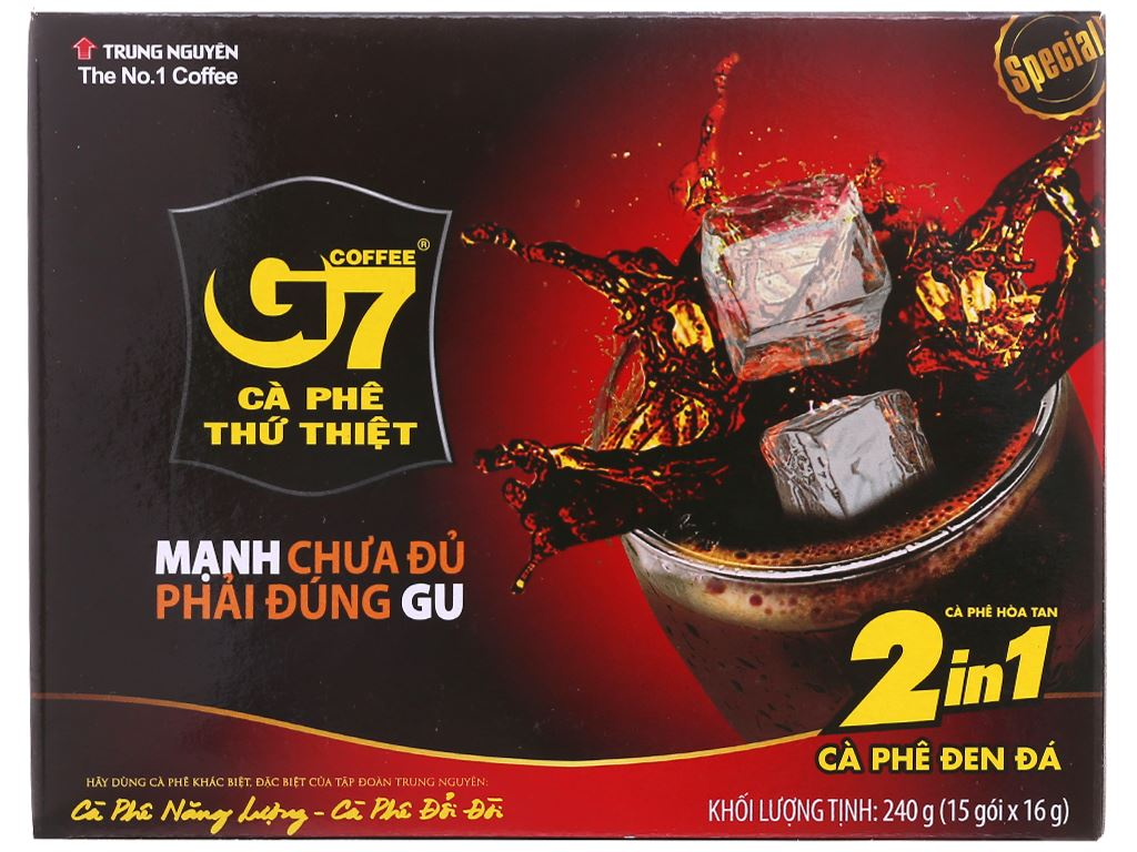 Cà phê đen hòa tan G7 2 trong 1 240g (16g x 15 gói) 2