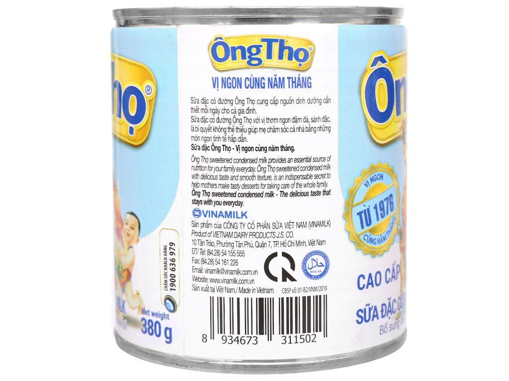 Sữa đặc có đường Ông Thọ trắng nhãn xanh lon 380g 3