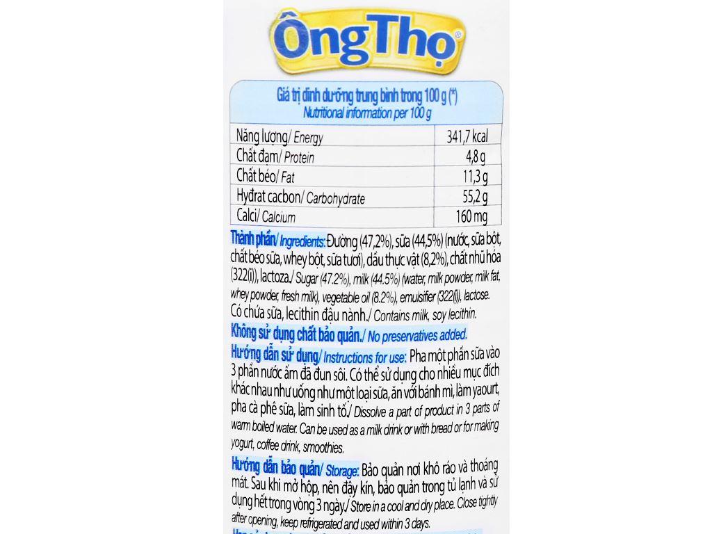 Sữa đặc có đường Ông Thọ trắng nhãn xanh lon 380g 4