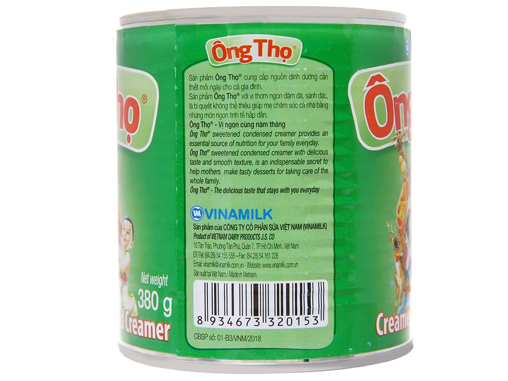 Sữa đặc có đường Ông Thọ xanh lá lon 380g 4