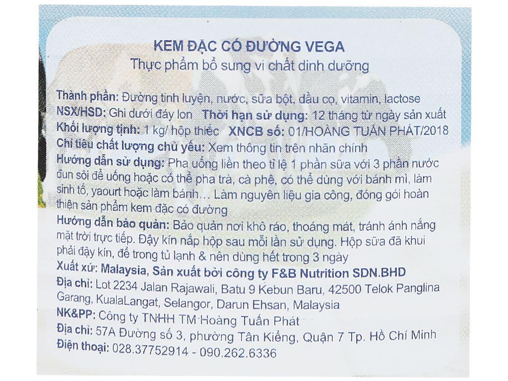 Kem đặc có đường Vega lon 1kg 6