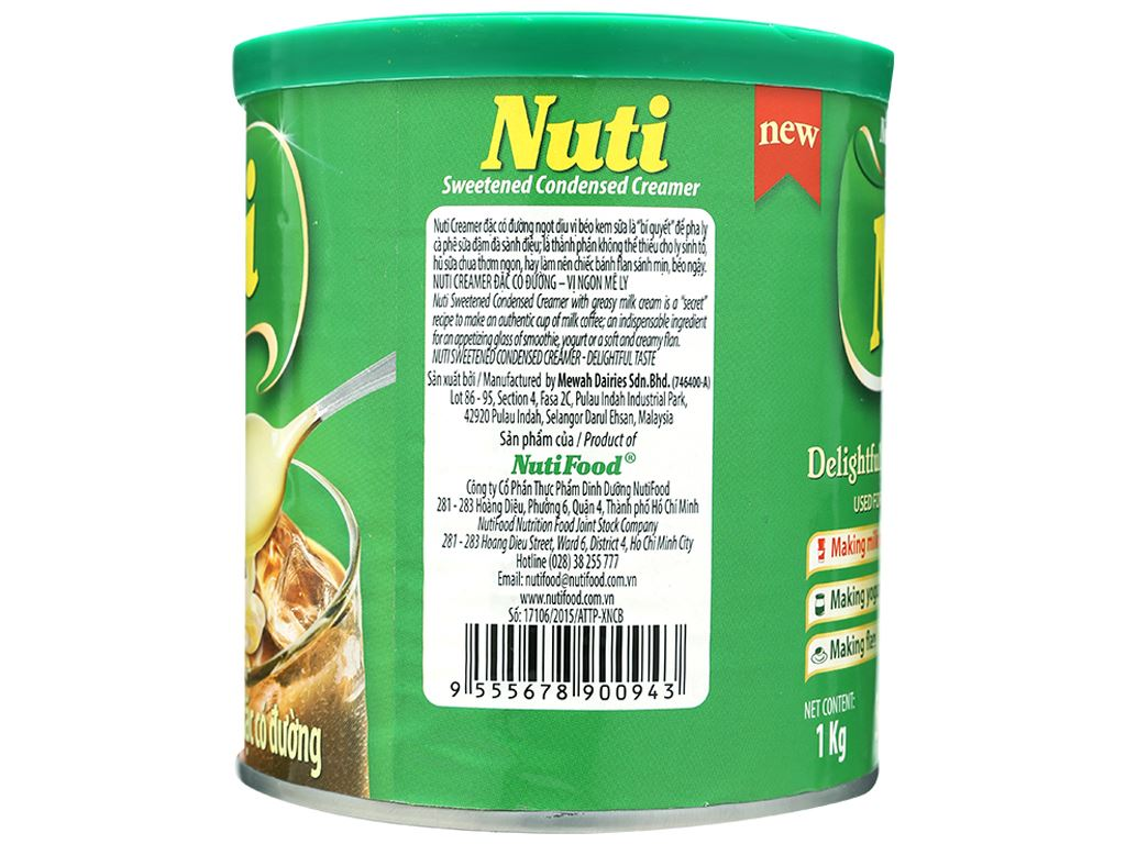Kem đặc có đường Nuti xanh lá lon 1kg 3