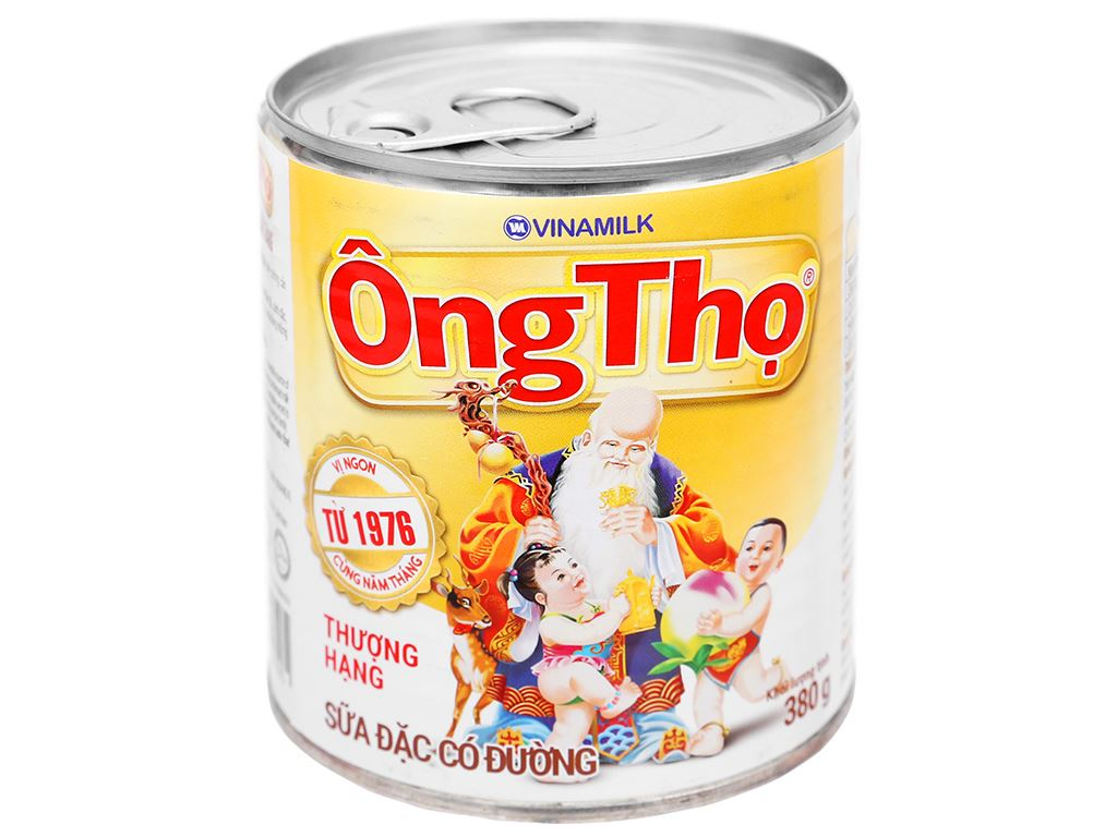 Sữa đặc có đường Ông Thọ trắng nhãn vàng lon 380g 1