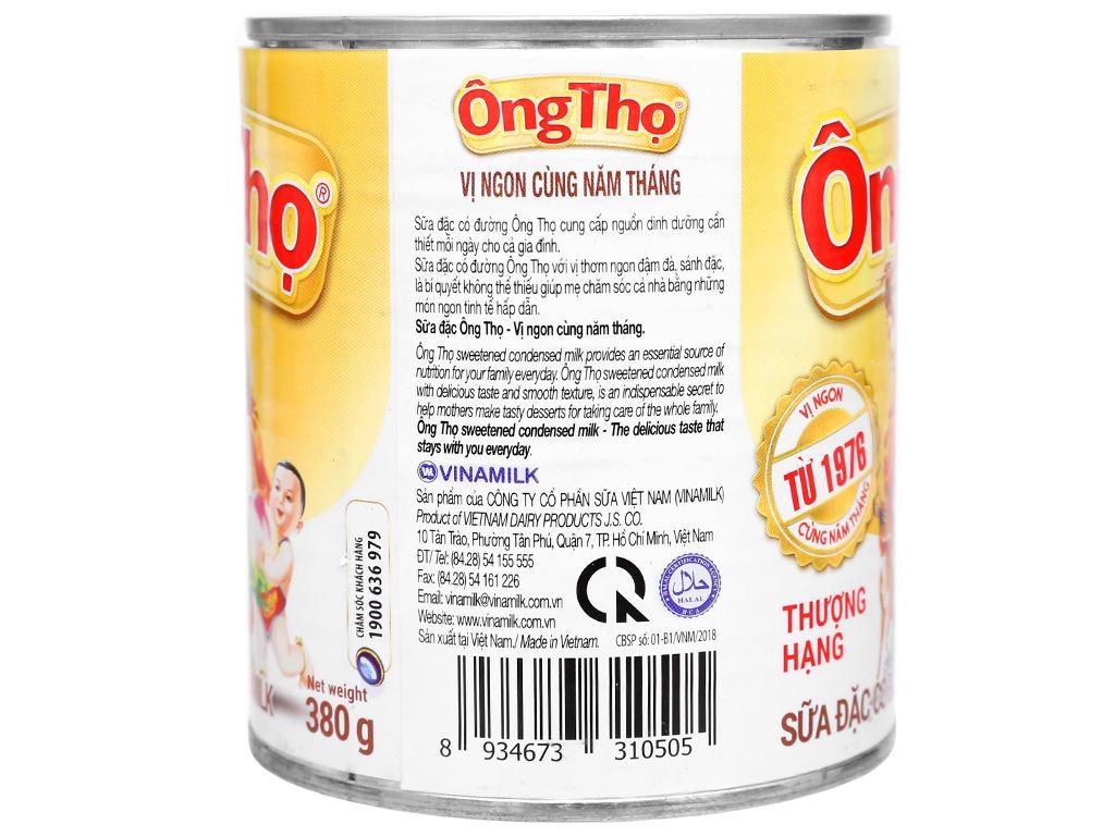 Sữa đặc có đường Ông Thọ trắng nhãn vàng lon 380g 3