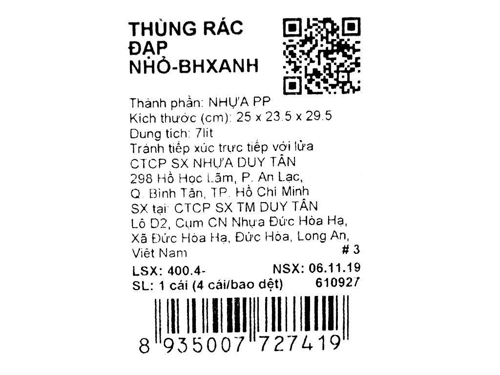 Thùng rác đạp nhựa nhỏ Duy Tân TR02 (giao màu ngẫu nhiên) 8