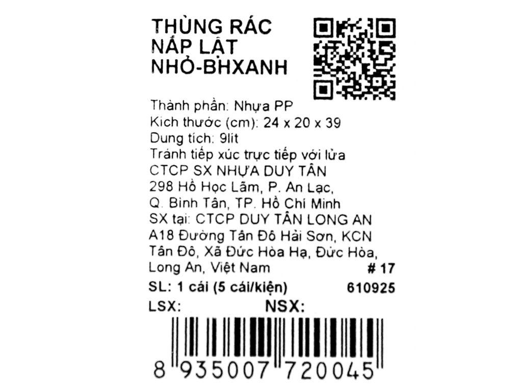 Thùng rác nắp lật Duy Tân 24x39cm (giao màu ngẫu nhiên) 18