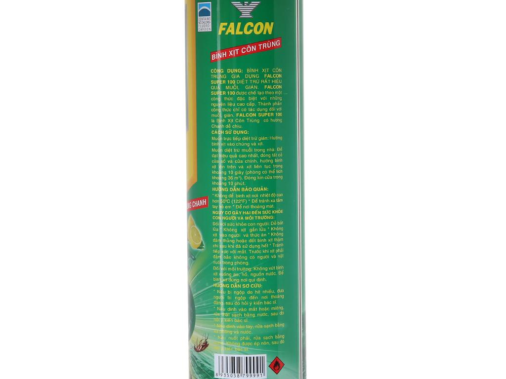 Bình xịt côn trùng Falcon SUPER 100 Hương Chanh 600ml 4