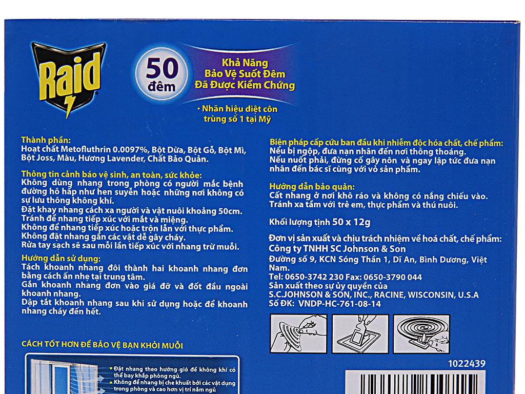 50 khoanh nhang muỗi Raid hương lavender 4