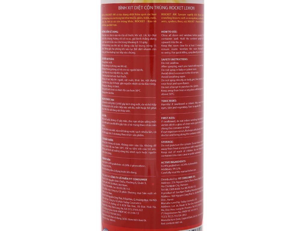Bình xịt côn trùng Rocket hương chanh 660ml 5