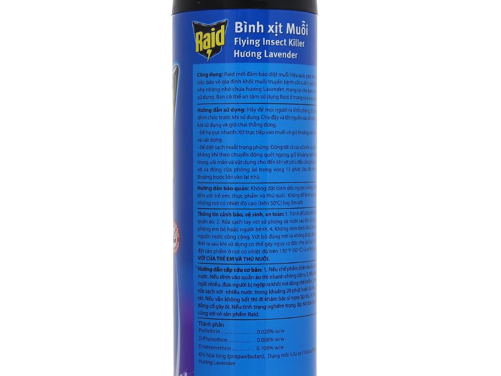 Bình xịt muỗi Raid hương Lavender 600ml 4