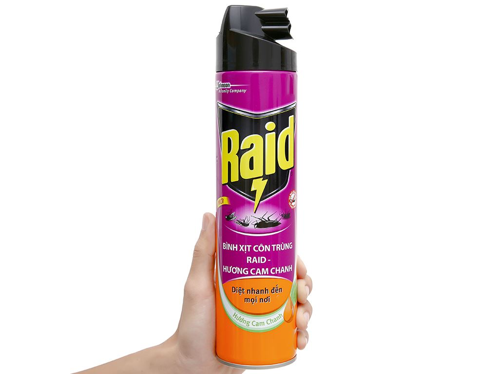 Bình xịt côn trùng Raid hương cam chanh 600ml 7
