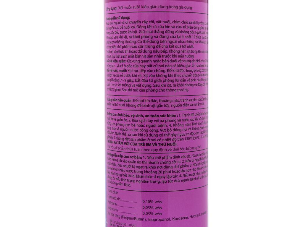 Bình xịt côn trùng Raid hương lavender 600ml 4