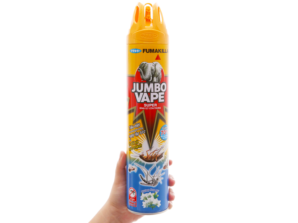 Bình xịt côn trùng Jumbo Vape SUPER hương hoa lài 600ml 4