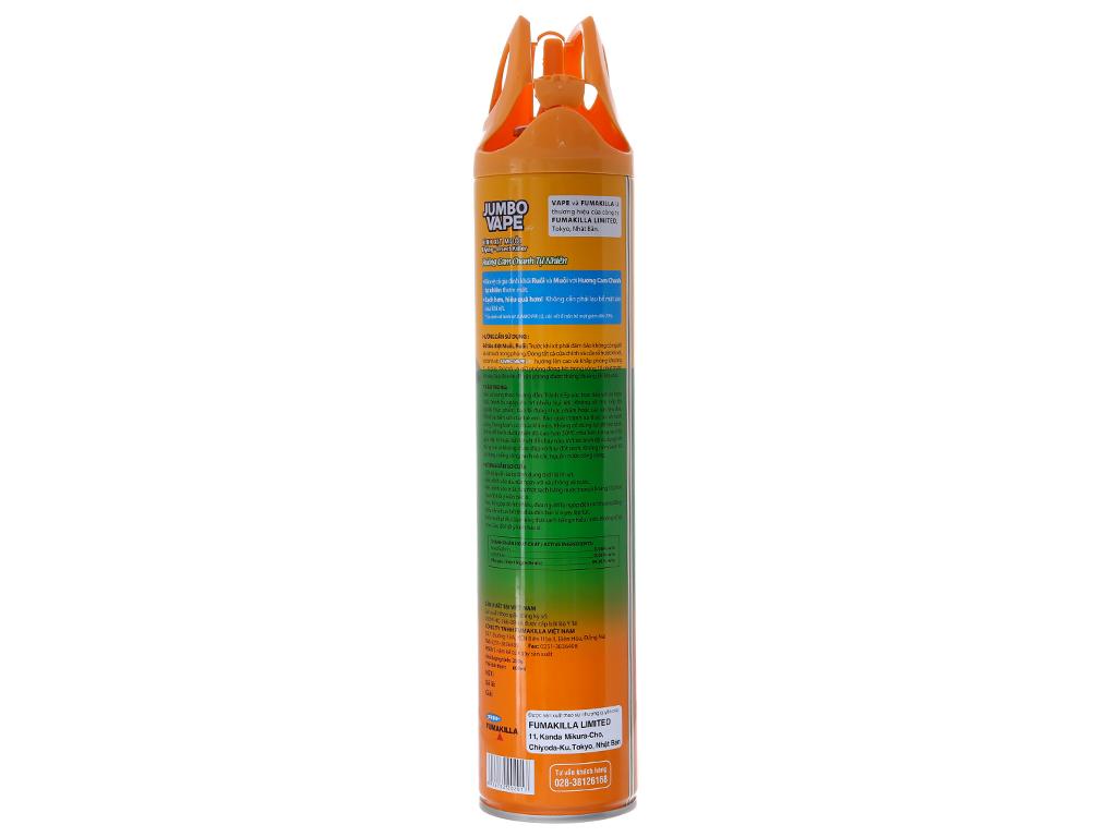 Bình xịt muỗi Jumbo Vape FIK hương cam & chanh 600ml 3