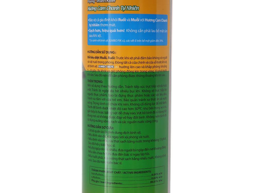 Bình xịt muỗi Jumbo Vape FIK hương cam & chanh 600ml 4