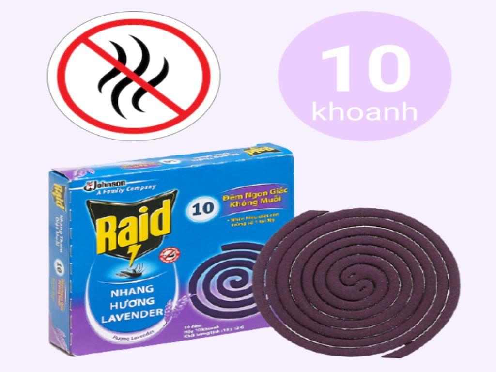 10 khoanh nhang muỗi Raid hương lavender