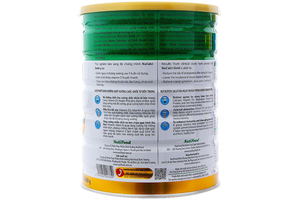 Sữa bột NuCalci Gold lon 800g (Cho người từ 51 tuổi trở lên)